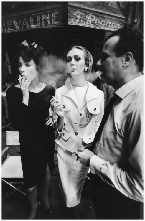 theswinginsixties:  Shirley MacLaine, Ina Balke and Jack Lemmon on the set of 'Irma la Douce, 1962. Photo by Jeanloup Sieff for Harper's Bazaar.