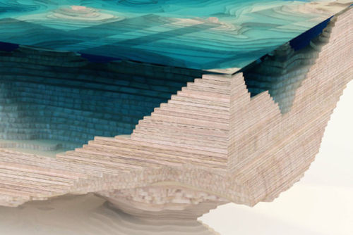 mymodernmet:  The Abyss Table is a stunning coffee table that mimics the depths of the ocean with stacked layers of wood and glass.