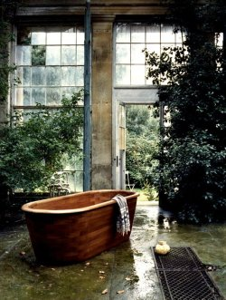 vanillajournal:  #wood #bath #trees #plants #design