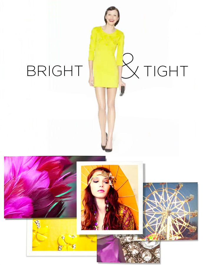 "Bright & Tight ""The Acid Yellow color was inspired by a vintage handbag I owned. I love that it says you're not afraid to make a statement."" - Kate Young"