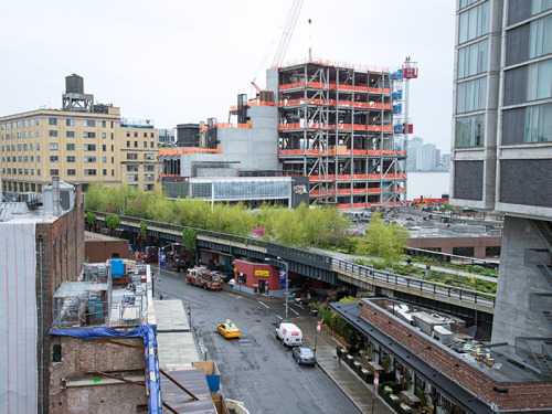 Work continues on High Line Headquarters and the future location of the Whitney Museum of American Art as lush spring foliage pops up along the southern end of the High Line. Crews are busy installing the interior finishes to High Line Headquarters, a four-story building located next to the new downtown location of the Whitney Museum of American Art, which is also under construction. Designed by Renzo Piano Building Workshop in collaboration with Beyer Blinder Belle Architects & Planners, High Line Headquarters will serve as a critical gathering space for visitors, with a new elevator, public restrooms, and a public meeting room when it opens later this year. The building will also help keep the High Line's landscape thriving, by giving gardeners, custodians, and maintenance technicians direct access between storage facilities and the park. This will streamline the transfer of materials, vehicles, and equipment — one of the current challenges of maintaining a park elevated 30 feet above the street.