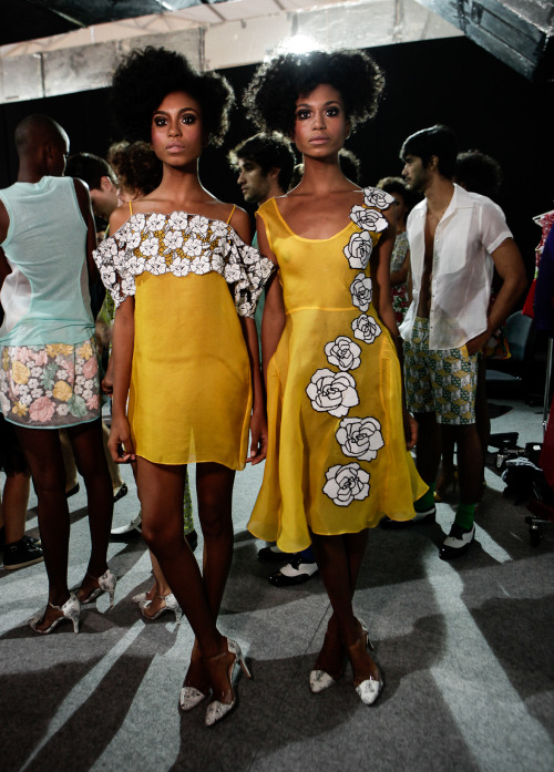 modelsofcolor:  Suzane & Suzana Massena backstage for Apoena S/S 2014   See twice.