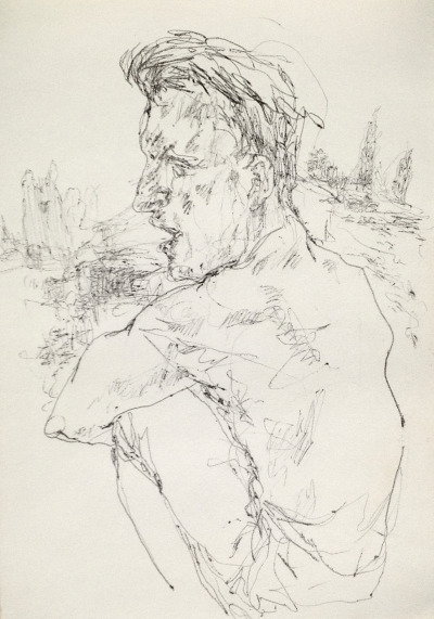 Italian sketchbook: Paul looking at the Roman ruins on the Via Appia.