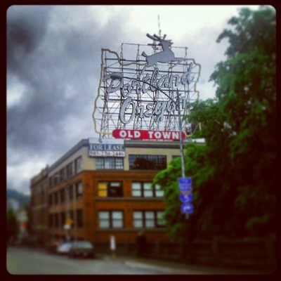 showing a friend around town. #pdx #portland #oldtown #signs #portlandia #oregon #pnw #pacificnorthwest #clouds #instagood  (at Old Town/Chinatown Neighborhood)