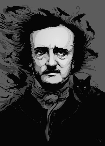 "whitesoulblackheart:  Edgar Allan Poe by CrisVector (Fixed my edit, Thanks Chris) ""Sleep, those little slices of death — how I loathe them."" ― Edgar Allan Poe more edits here … Ƹ̴Ӂ̴Ʒ"