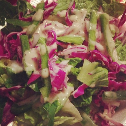 Salad with roasted garlic dressing. #healthy #salad #dinner #veggies #diet