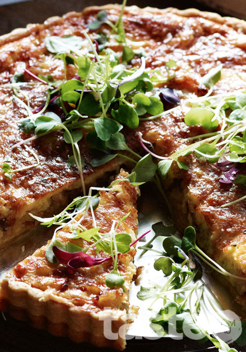 This heartwarming savoury tart is tinted with paprika thyme. (Recipe by Valli Little; Photography by Brett Stevens)