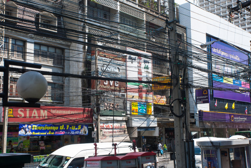Electricity and telephone wiring. Bangkok, Thailand.