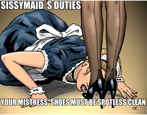 Sissymaids duties: Your Mistress shoes must be spotless clean!