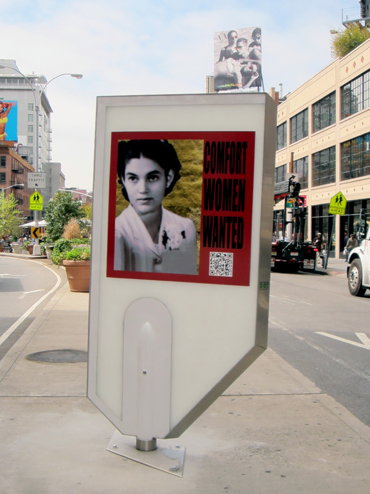 "nycurbanart:  Comfort Women Wanted""Comfort Women Wanted"", on display for one month in an art display structure (designed by the Urban Art Program) at 14th Street & 9th Avenue, sheds light on one of the largest cases of female trafficking in the 20th Century. Learn more: http://bit.ly/147NaR6"
