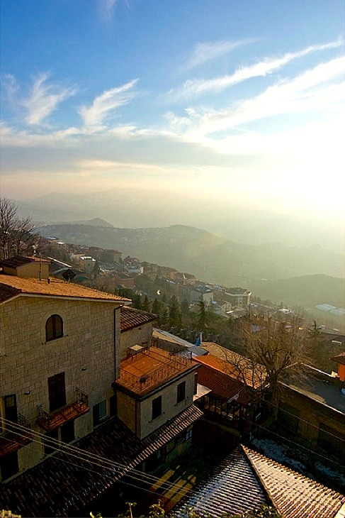 | ♕ |  Winter morning view from San Marino  | by © Andrey | via ysvoice