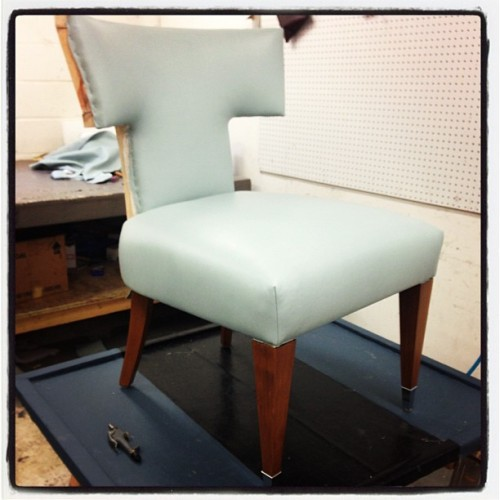 Fun to see pieces transformed via reupholstery!  #bjorkstudio #chair #cortinaleather  (at Bjork Studio)