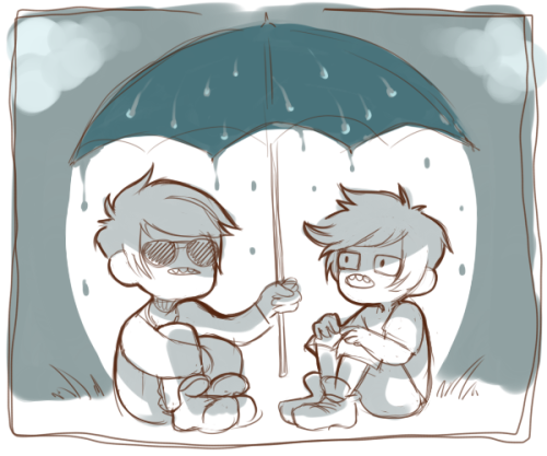 ssejery:  davejohn under an umbrella for Morgan !! i can imagine them as little kids here bein all cute and dave just spouting out nonsense, making john believe things like a gullible butt