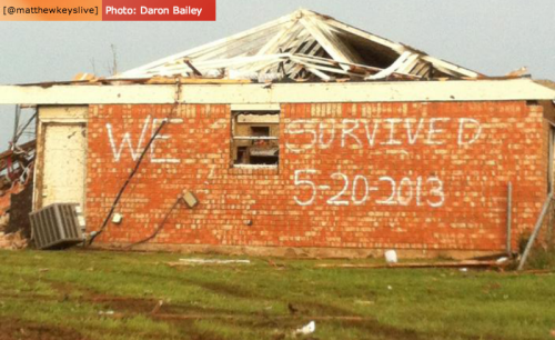 matthewkeys:  Photo: A message is spray-painted on the side of a structure in Moore, Oklahoma. A devastating tornado ripped through the Oklahoma City suburb on Monday, killing at least 51 and injuring over 100 people. [Photo: Daron Bailey] LIVE: Coverage of Oklahoma tornado from KWTV