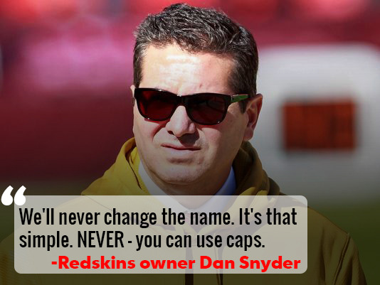 """You can use caps."" Dan Snyder opens up about ""Redskins."""