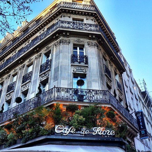Cafe de Flores.. A lovely spot on St. Germain #paris #latergram #iphoneography #photooftheday #color #cafe