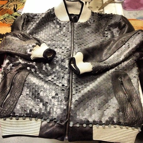 Working on my New Premium perforated columbian leather varsity jacket with lamb leather. I stay working on my master pieces for spring 2013 #leather #varsityjacket #exclusive #custom #ghostdesigner #touredesigns #fashion #nyc       #ghana #mali #africa