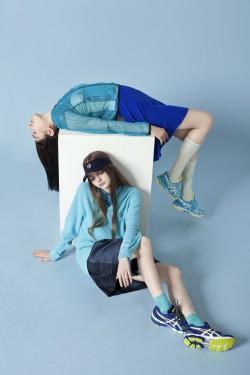 blue nike sneakers fashion editorial stussy sporty bark asics fila indie magazine two models katiusha feofanova andrea carrazco delfrance ribeiro