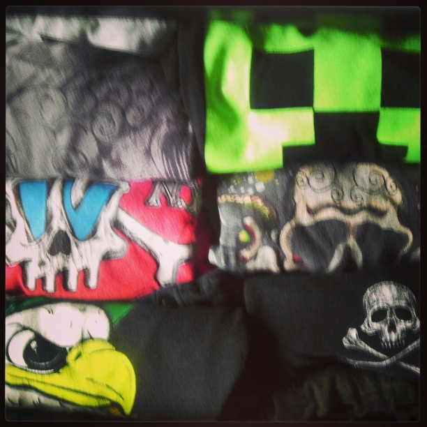 My 7 y.o. #wardrobe consists of lots of #skulls. Hmmm what does it all mean? #zombiemilo cc @rockinboysclub #fashion #kids #t-shirts #minecraft #tonyhawk #shaunwhite #target