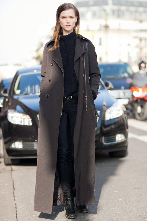modelsdot:  On the Street (Paris) / FW 13 - Of The Minute ::Kasia Struss  Check out my PFW story for models.com!  So excited about the girls I shot! Love Kasia and her long coat here after Stella McCartney. Her face though. Amazing. Was quite tough to shoot outside this show (/at Paris Fashion Week, I felt like I was shooting a marathon). I really like the position I put her in (without too many people in the background) but then someone's shadow got in the away. Oh well. I'll call this a selfie. Thanks girls!