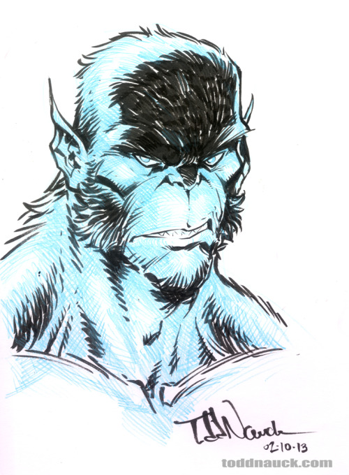 Thought I'd try sketching the latest mutation of Beast from All-New X-Men.Drawn with Pilot Eno .07 non-repro blue mechnical pencil and Pentel pocket brush pen.