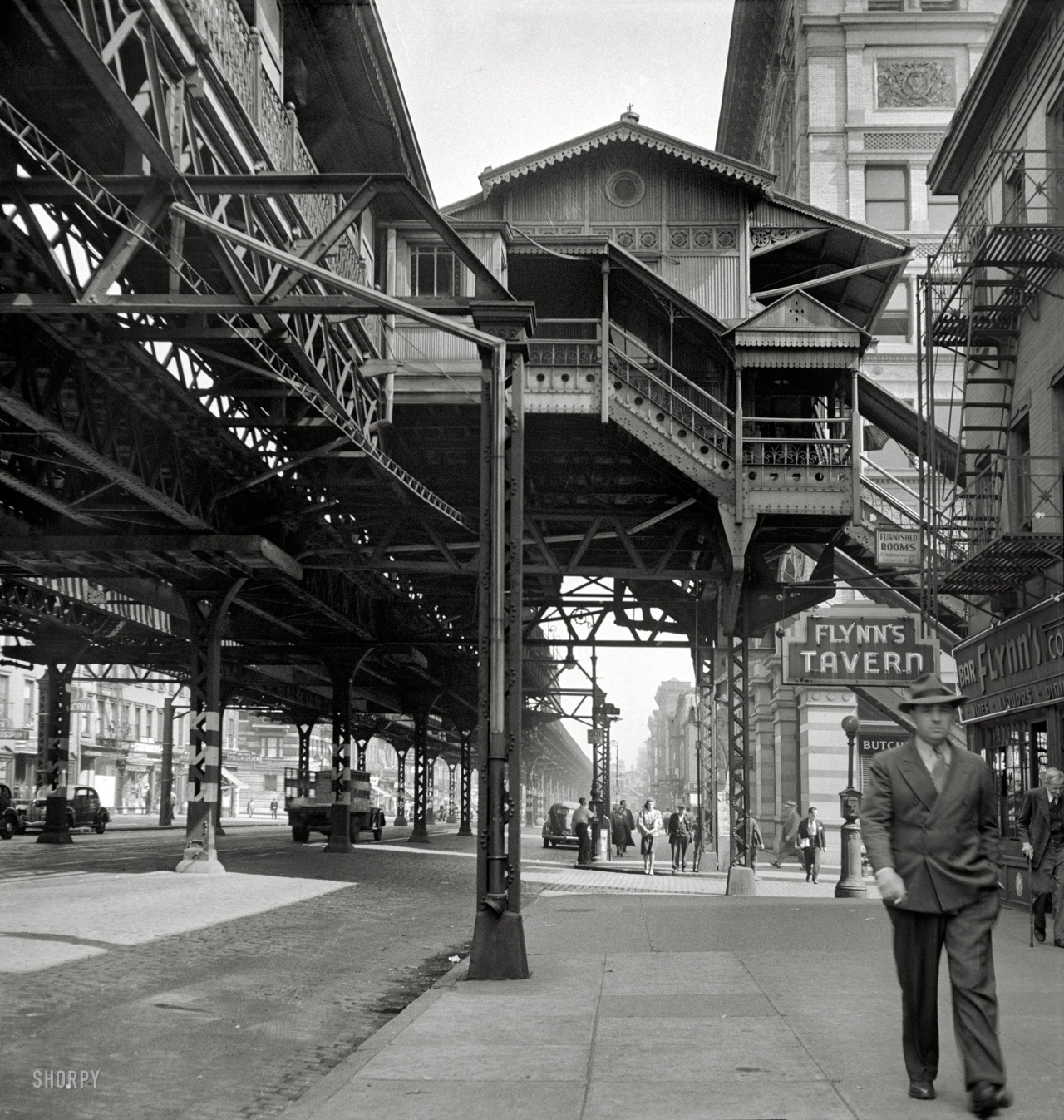 "Under the El: 1942 September 1942. ""New York. Third Avenue elevated railway at 18th Street."" (Shorpy Historical Photo Archive)"