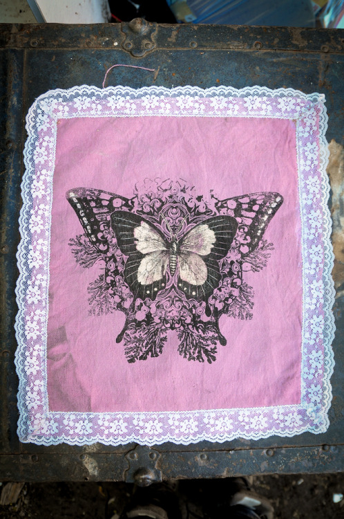 "oakheartcollective:  New hand-made back patch is up! (butterflies on hand-dyed/bleached canvas w/ lace trim). 12.5"" X 14"", check out the Oakheart Collective store."