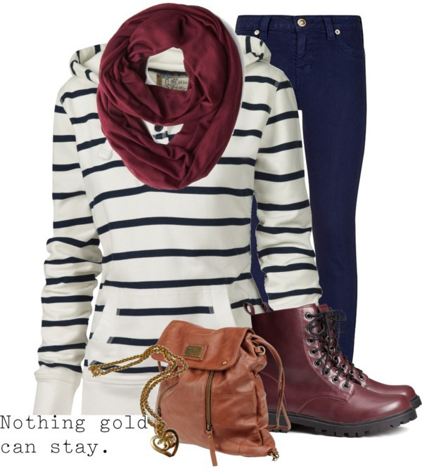 Untitled #1490 by greysonater-and-hp-fan featuring an infinity scarf ❤ liked on PolyvoreFat Face hooded sweatshirt, $74 / True religion jeans, $280 / H&M floral shoes, $25 / Billabong backpack / Chanel heart necklace / Infinity scarf