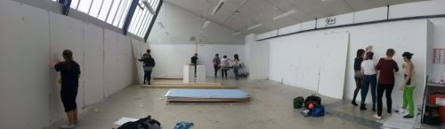 Setting up the space for the final degree show work which my Film Noir inspired pieces will be put up