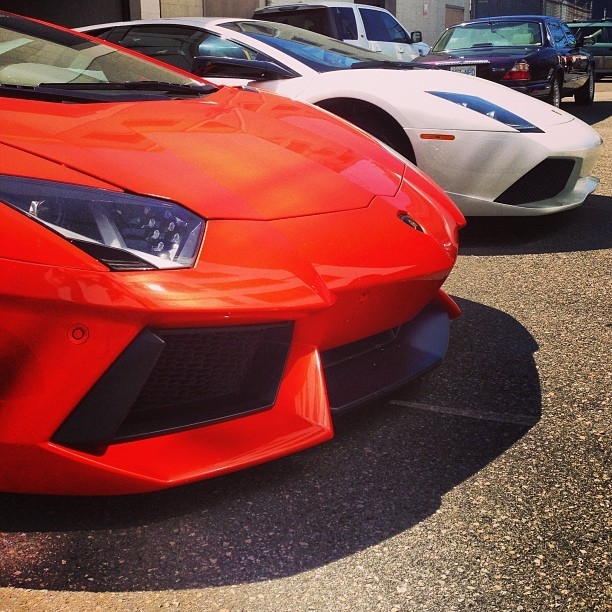From another angle the #lamborghini #lp700 #aventador and the #versace #lambo #lp640. Mean combo! #vancitysupercars