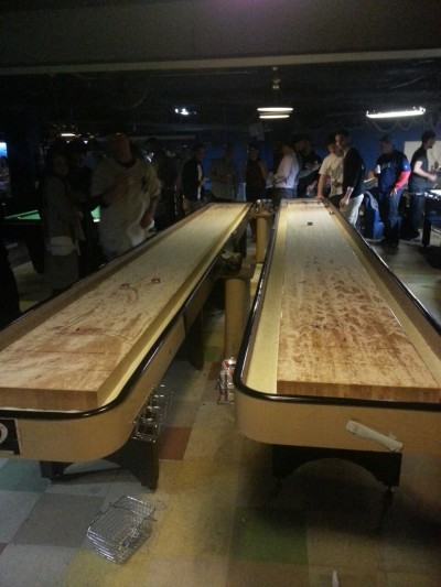 Shuffle board @ the fat cat… w village nyc… The Fat Cat also has many pool tables, chess boards and 4 ping pong tables !!!