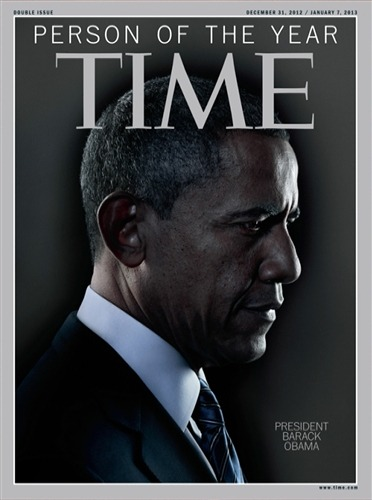nbcnews:   TIME Person of the Year: President Obama (Photo: TIME) In addition to President Obama, the short list for Person of the Year included Marissa Mayer, CEO of Yahoo!; Mohammed Morsi, president of Egypt; Undocumented Americans; Bill and Hillary Clinton; Malala Yousafzai, the student activist from Pakistan who survived an assassination attempt by the Taliban; Tim Cook, the CEO of Apple; and the Higgs Boson and Italian physicist Fabiola Giannati. Read the complete story.   He won a second term. His signature piece of legislation passed judicial muster. He still has weaknesses (see: drones), but ultimately he's looking a lot stronger in 2012 than he was in 2011. Seems like an obvious one. Side note: Based on the Flickr iOS app alone — a clear sign that things are turning around at Yahoo — Marissa Mayer would have been an awesome choice.
