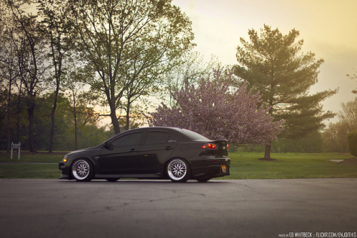 Fitted Evo X on polished BBS LMS on Flickr.
