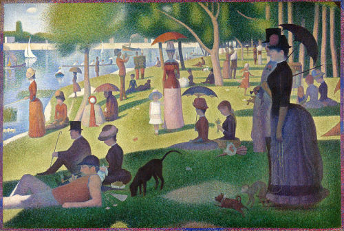 """Sunday Afternoon on the Island of La Grande Jatte""Georges Seurat This piece demonstrates the gestalt principle of proximity. This painting is comprised of many dots of color placed next to each other to create figures as we see them now. This is termed pointillism and Seurat believed placing dots of pure color next to each other would allow the work to be more vibrant. We see the idea of proximity not only used at the miniscule scale of these dots and the color of these dots to separate the figures but also by the large-scale separation of the figures as they occupy their places in the park. Seurat depicts many figures who, though they appear grouped based on proximity, seem detached and alone even within their grouping. For example, the three figures in the shade on the bottom left are positioned closely together but they do not interact with each other, nor are they looking at each other. The same is true for the two mother and daughter groupings at the center, and the two prominent figures on the left. The figures with the most interaction, in fact, seem to be the animals at the bottom of the image - particularly the monkey and the brown dog who appear to be leaving their proximity grouping and joining the other black dog."