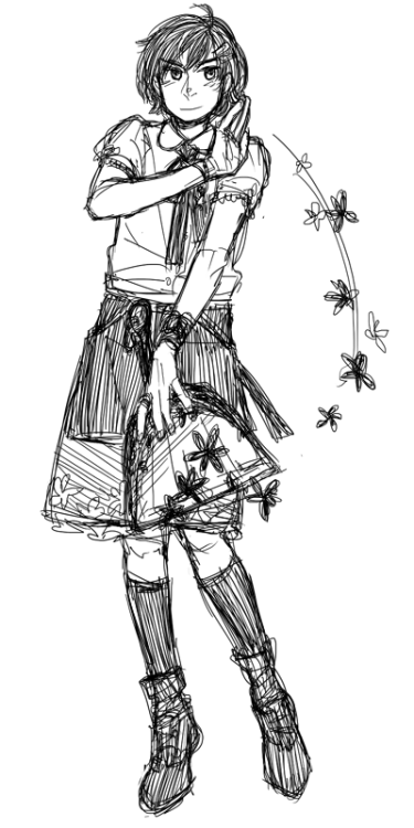 Magical girl!!!!She's plainer than the other girl I drew. Guess that means that other girl is the main character.