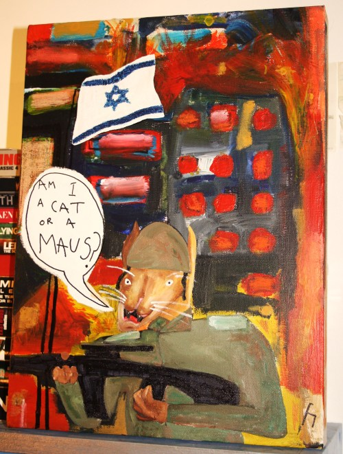 An Israeli Soldier Perhaps?  Hassan  acrylic & pen on canvas £30 (which will be donated to a Palestinian Charity)