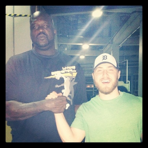 mikeposnerhits:  Shaquille O'Neal and Mike Posner backstage at Justin Bieber's 'Believe Tour' concert in Orlando, FL. 1/25/2013