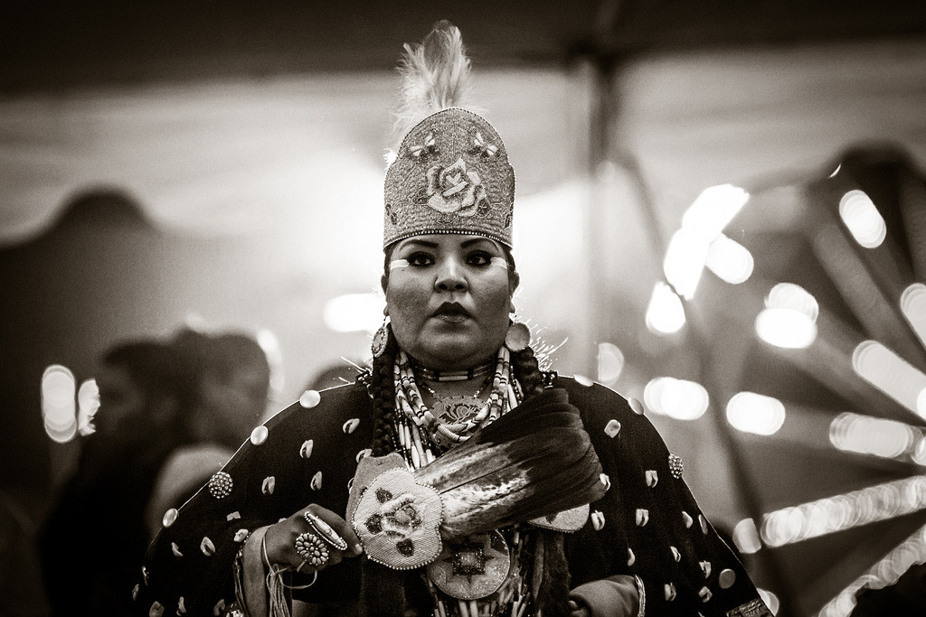 A Southern Cloth contestant waits for the drums to start during the 44th Annual Western Navajo Fair's Pow Wow in Tuba City, Arizona.