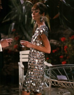 "Audrey Hepburn in Two for the Road wearing the so called ""Unwearable"" Dress designed by Paco Rabanne, 1967"