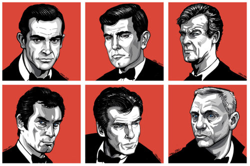 jonathanfrei:  Bonds, James Bonds  (via James Bond will Return… by *ArkadeBurt on deviantART)