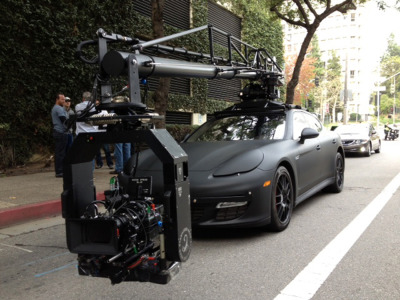 automotivated:  Chase Car Inc's Panamera Camera Vehicle with 14' Scorpio Arm.