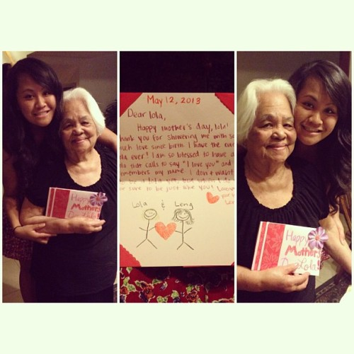 My mother's day card to my dearest Lola from her self-proclaimed favorite apo! ☺❤👵 #HappyMothersDay #Lola #Grandma #Family #Favorite #Daaaw #CutiePatootie #Adorbs #EightYearOldBoyWriting #ThatsMe #StickFigures #lol #TookLikeTwoHours #SheLovedIt #Teeheehee