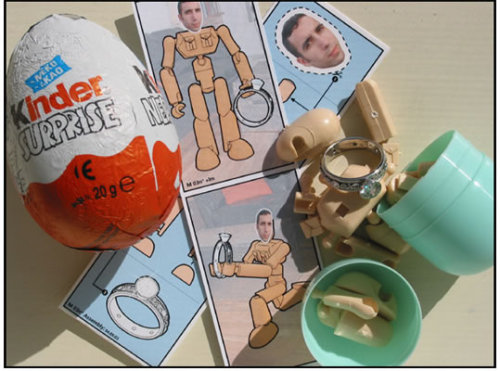 Kinder Surprise Egg Marriage Proposal Alex, neatorama.com Kinder Surprise Egg , like its name implies, is a chocolate snack with a little surprise hidden inside (the product is banned in the United States because of the small parts it contained may pose a choking hazard for little children).But the one t…