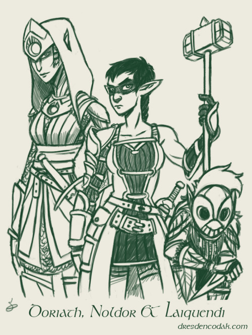 "I sketched some Elf soliders from the Silmarillion in the Livestream today!  These are the three armies/peoples to first fight Morgoth around the beginning of the First Age. The one on the left is a soldier from Doriath, a Middle-Earth Sindar Kingdom that's largely hidden within a great forest, its capital consisting of a massive cave system.  While Doriath Elves aren't ""High Elves"" who have travelled to the West before, they're a force to be reckoned with during the war against Morgoth.  They're of Teleri descent, so they are very tall and thin, and those of Doriath are adept at fighting in dense woods. The second is an Elf soldier of the Noldor, who comprise many of the most famous Elves in the Silmarillion.  They are proud and daring, and above all else are master craftspeople and blacksmiths, which their armor reflects.  Noldor are shorter than their Teleri cousins, but notably more muscular. This soldier here is wearing dark paint across her eyes to mark her dedication toward defeating Morgoth and recovering the Silmarils, which the Noldor Fëanor had crafted.  The third is a member of the Laiquendi, or Green-Elves. They were a woods-dwelling people who allied themselves with the Elves of Doriath when Morgoth first returned to Middle-Earth.  Unlike more familiar Elves, the Laiquendi were not technologically advanced, using no metal and clothing themselves in leaves and grass.  They were highly secretive, and only participated in a handful of conflicts during the First Age before disappearing from history. For more info, here's my previous post on Elves in the Silmarillion."