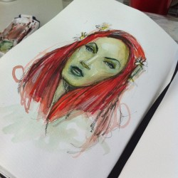 pmpinto:  #abby #darkstar as #poisonivy #dc #gothamcity #sketch #sketchbook #villains #moleskine #grapesodastudio #orlando #watercolor #markers  grapesodastudio.com