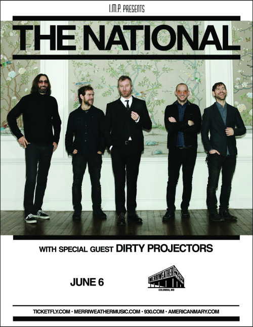 PREVIEW: The National Ah, summer 2k13 is just around the corner, which can only mean one thing: it's Merriweather New Years! And what better embodies a relaxing, liberating summer evening than seeing chill indie rock pioneers the National? If their new songs like 'Sullivan' and 'Prime' are any indication, their self-produced sixth LP 'Trouble Will Find Me' (being released May 21 on 4AD) promises to be another choice record full of tightly wound, rhythmic indie goodness. If you haven't already fallen in love with these Interpol/Shins contemporaries, take note, because this is one of those rare bands that sounds just as tight live as they do on record. Don't miss your chance to start off outdoor concert season right. Get your Bloodbuzz on. -Kelsey Butterworth