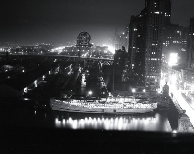 Docked at the Michigan Ave Bridge, 1940, Chicago