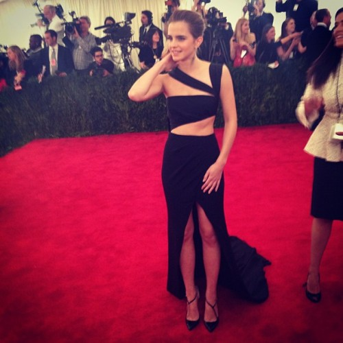 emmawatsonupdates:  Emma Watson on the red carpet of the Met Ball  only emma watson can pull off still looking classy while showing so much skin.