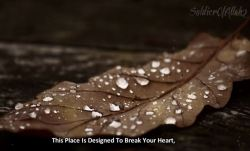 Dunya, This life: is designed to break your heart.  From:http://www.youtube.com/watch?v=5pyZkY93B2A