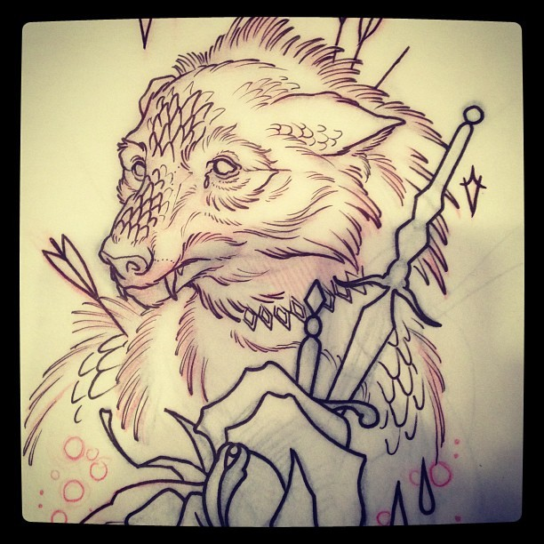 wolf warrior. mike moses www.thedrowntown.com #spiritustattoo